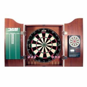 DMI Sports Deluxe Bristle Dartboard Cabinet Set with Electronic Scorer