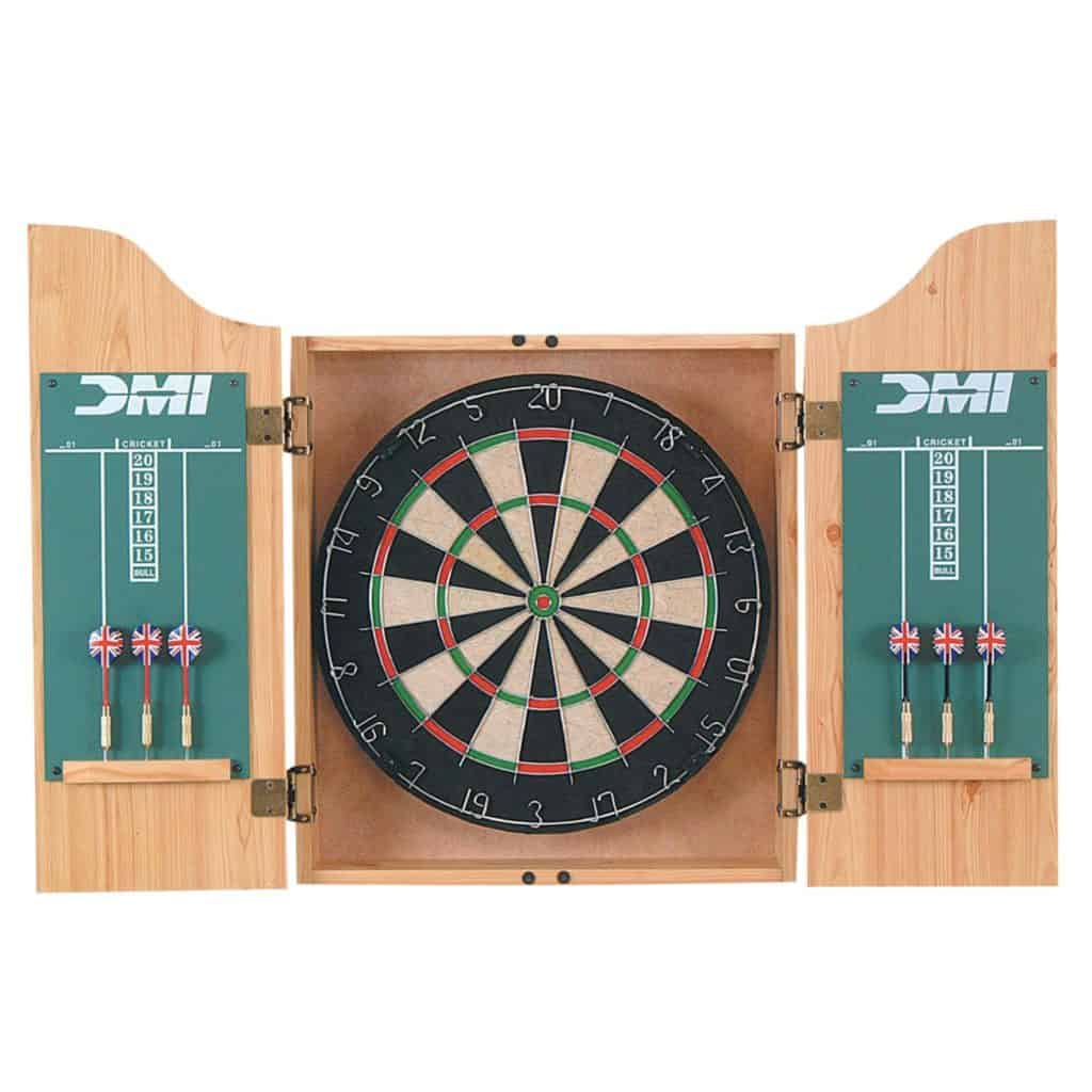 DMI Sports Deluxe Dartboard Light Oak Cabinet Set