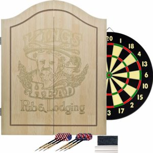 TG King's Head Light Wood Dartboard Cabinet Set