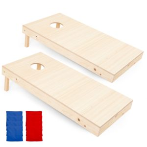 Play Platoon Regulation Wooden Cornhole Boards with Cornhole Bag Set